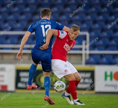 Waterford vs St. Patrick's Athletic. Waterford's John Martin with Jamie Lennon of St Pats