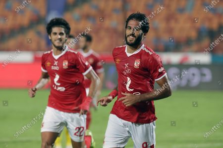 Al-Ahly  player Marwan Mohsen celebrates  during the Egyptian Premier League soccer match between Al-Ahly  and Wadi Degla SC at Cairo Stadium in Cairo, Egypt, 04 September  2020.