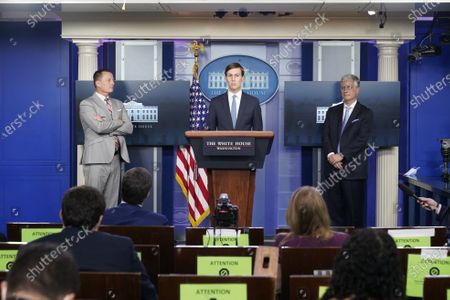 Jared Kushner, Assistant to the President and Senior Advisor, center, Advisor to the President on Serbia-Kosovo Richard Grenell, left, and United States National Security Advisor Robert C. O'Brien, right, participate in a news briefing in the Brady Press Briefing Room of the White House in Washington, DC.