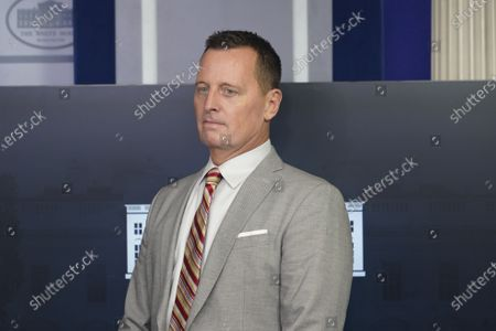 Stock Image of Advisor to the President on Serbia-Kosovo Richard Grenell participates in a news briefing in the Brady Press Briefing Room of the White House in Washington, DC.
