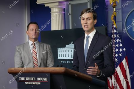 Stock Photo of Jared Kushner, Assistant to the President and Senior Advisor, right, participates in a news briefing in the Brady Press Briefing Room of the White House in Washington, DC. Looking on at left is Advisor to the President on Serbia-Kosovo Richard Grenell.