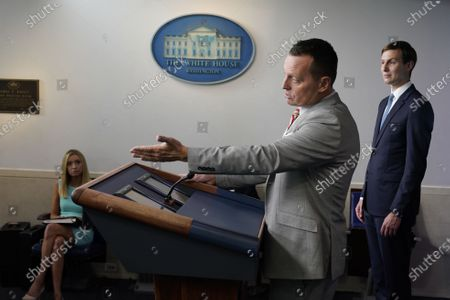 Advisor to the President on Serbia-Kosovo Richard Grenell participates in a news briefing in the Brady Press Briefing Room of the White House in Washington, DC. Seated at left is White House Press Secretary Kayleigh McEnany and standing at right is Jared Kushner, Assistant to the President and Senior Advisor.