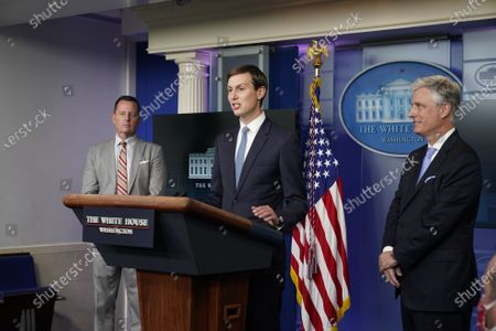 United States National Security Advisor Robert C. O'Brien, right, Advisor to the President on Serbia-Kosovo Richard Grenell, left, and Jared Kushner, Assistant to the President and Senior Advisor, center, participate in a news briefing in the Brady Press Briefing Room of the White House in Washington, DC.