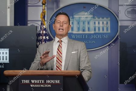 Advisor to the President on Serbia-Kosovo Richard Grenell participates in a news briefing in the Brady Press Briefing Room of the White House in Washington, DC.