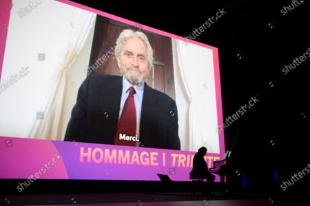Michael Douglas delivers a video message to a tribute to his father Kirk Douglas during the opening ceremony of the 46th Deauville American Film Festival, in Deauville, France, 04 September 2020. The festival runs from 04 to 13 September 2020.