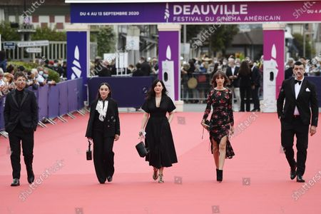 Members of the Revelation Jury , French actor Antoine Reinartz, French actress Luana Bajrami, French writer Rebecca Zlotowski, Belgium actress Mia Bollaers and French musician Arnaud Rebotini arrive on the red carpet prior to the premiere of 'Minari' during the 46th Deauville American Film Festival, in Deauville, France, 04 September 2020. The festival runs from 04 to 13 September 2020.