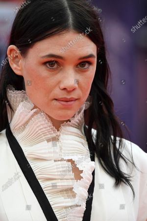 Astrid Berges Frisbey arrives on the red carpet prior to the premiere of 'Minari' during the 46th Deauville American Film Festival, in Deauville, France, 04 September 2020. The festival runs from 04 to 13 September 2020.