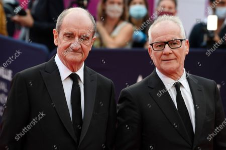 General Delegate of the Cannes Film Festival Thierry Fremaux (R) and Cannes Film Festival President Pierre Lescure (L) pose on the red carpet prior to the premiere of 'Minari' during the 46th Deauville American Film Festival, in Deauville, France, 04 September 2020. The festival runs from 04 to 13 September 2020.