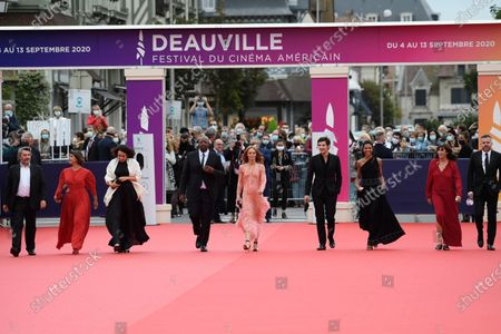 Members of the Jury , French actor Bruno Podalydes, French-Algerian filmmaker Mounia Meddour, French rabbi Delphine Horvilleur, French singer Oxmo Puccino, French singer and actress Vanessa Paradis, French actor Vincent Lacoste, French actress Zita Hanrot, French screen writer and producer Sylvie Pialat, and French director Yann Gonzalez arrive on the red carpet prior to the premiere of 'Minari' during the 46th Deauville American Film Festival, in Deauville, France, 04 September 2020. The festival runs from 04 to 13 September 2020.