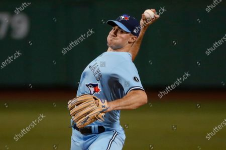 Toronto Blue Jays pitcher Ross Stripling delivers against the Boston Red Sox during the first inning of the second baseball game of a doubleheader, at Fenway Park in Boston