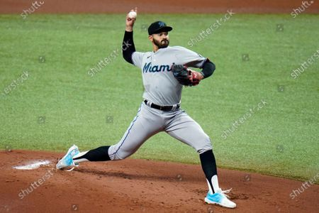Miami Marlins starting pitcher Pablo Lopez delivers to the Tampa Bay Rays during the first inning of a baseball game, in St. Petersburg, Fla