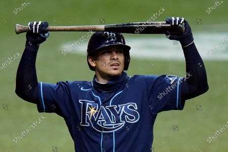 Tampa Bay Rays' Willy Adames reacts after striking out against Miami Marlins starting pitcher Pablo Lopez during the fourth inning of a baseball game, in St. Petersburg, Fla