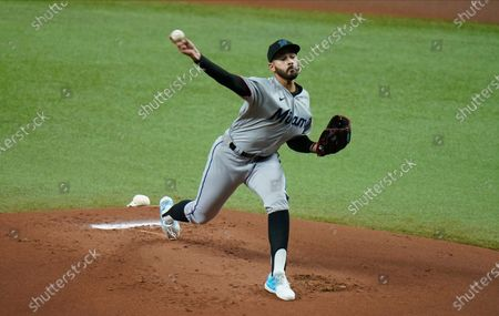 Miami Marlins' Pablo Lopez pitches to the Tampa Bay Rays during the first inning of a baseball game, in St. Petersburg, Fla
