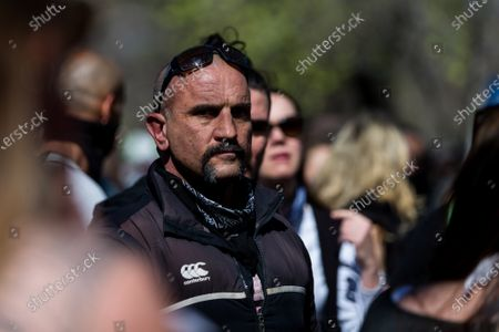 Stock Image of Pro-wrestler Craig 'The Pitbull' Cole is seen standing in the crowd during the Anti-Lockdown Protest on September 05, 2020 in Sydney, Australia. Stage 4 restrictions are in place from 6pm on Sunday 2 August for metropolitan Melbourne. This includes a curfew from 8pm to 5am every evening. During this time people are only allowed to leave their house for work, and essential health, care or safety reasons.