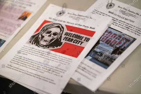 Press materials seen during a Steve Bannon Speaking Engagement on Zoom with Queens Village Republican Club in Triple Crown Diner, Middle Village, Queens.