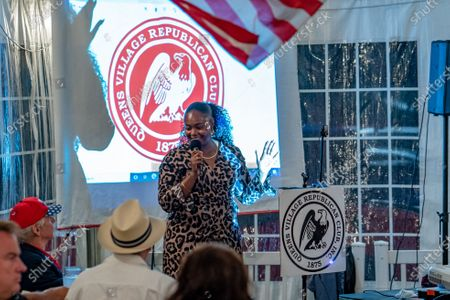 Evangelist Bevelyn Beatty (she was arrested weeks earlier for defacing a BLM mural in front of Trump Tower) gives an impassioned speech during a Steve Bannon speaking engagement with Queens Village Republican Club in Triple Crown Diner, Middle Village, Queens.