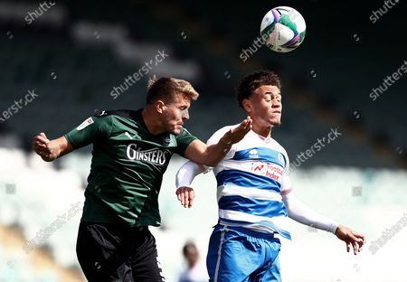 Scott Wootton of Plymouth Argyle and Luke Amos of QPR.