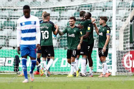 Frank Nouble of Plymouth Argyle celebrates scoring his sides third goal.
