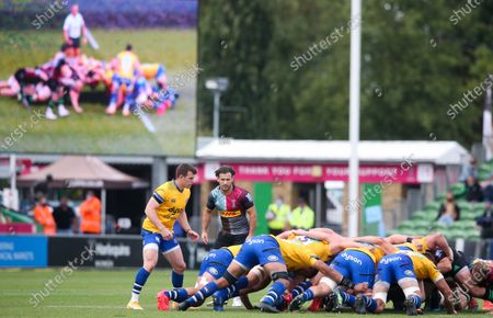 A scrum duplicate on the big screen - Ben Spencer of Bath & Danny Care of Harlequins (scrum halves)