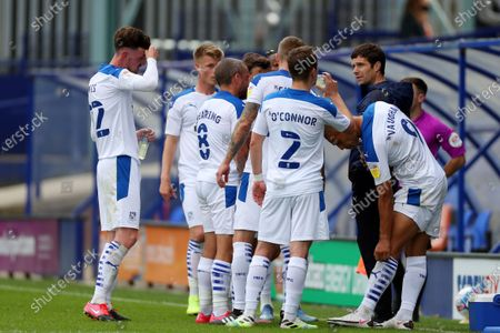 Tranmere Rovers manager Mike Jackson gives instructions to his players during a break in play