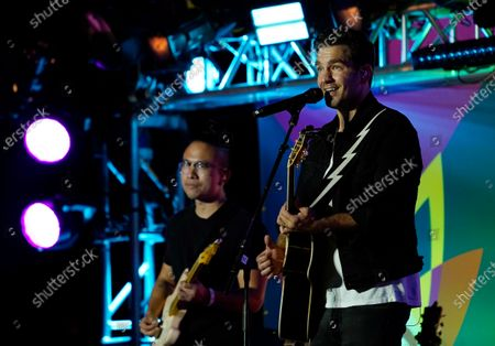 Singer Andy Grammer performs at the Drive-In to Erase MS gala, in Pasadena, Calif