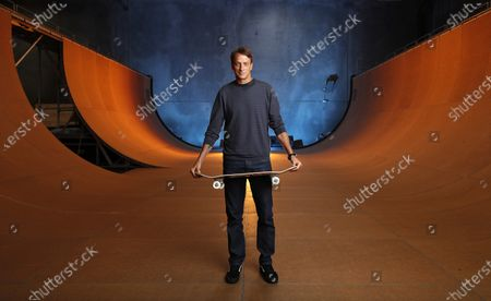 Stock Picture of Skateboarding legend Tony Hawk stands on his ramp at his warehouse on Monday, Aug. 31, 2020 in Vista, CA. Tony Hawk's Pro Skater 1 And 2 Remaster video game will be release this week. (K.C. Alfred / The San Diego Union-Tribune)