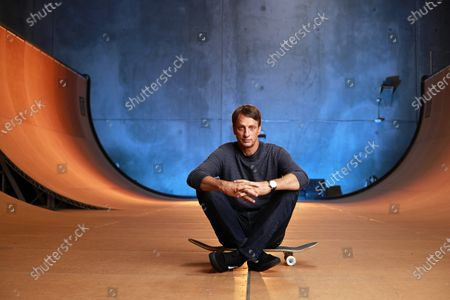 Stock Image of Skateboarding legend Tony Hawk sits on his ramp at his warehouse on Monday, Aug. 31, 2020 in Vista, CA. Tony Hawk's Pro Skater 1 And 2 Remaster video game will be release this week. (K.C. Alfred / The San Diego Union-Tribune)