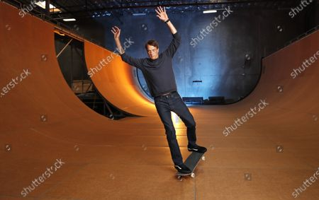 Stock Photo of Skateboarding legend Tony Hawk stands on his ramp at his warehouse on Monday, Aug. 31, 2020 in Vista, CA. Tony Hawk's Pro Skater 1 And 2 Remaster video game will be release this week. (K.C. Alfred / The San Diego Union-Tribune)