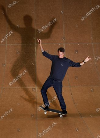 Skateboarding legend Tony Hawk stands on his ramp at his warehouse on Monday, Aug. 31, 2020 in Vista, CA. Tony Hawk's Pro Skater 1 And 2 Remaster video game will be release this week. (K.C. Alfred / The San Diego Union-Tribune)