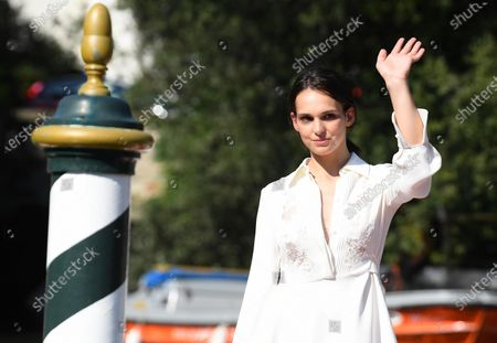 Sara Serraiocco arrives at Lido Beach for the 77th annual Venice International Film Festival, in Venice, Italy, 05 September 2020, where she will present the movie 'Non Odiare.' The event is the first major in-person film fest to be held in the wake of the Covid-19 coronavirus pandemic. Attendees have to follow strict safety measures like mandatory face masks indoors, temperature scanners, and socially distanced screenings to reduce the risk of infection. The public is barred from the red carpet, and big stars are expected to be largely absent this year. The 77th edition of the festival runs from 02 to 12 September 2020.