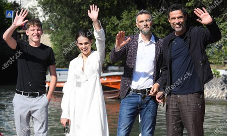 Actor Luka Zunic, Italian actress Sara Serraiocco, Italian director Mauro Mancini and Italian actor Alessandro Gassmann arrive at Lido Beach for the 77th annual Venice International Film Festival, in Venice, Italy, 05 September 2020, where they will present the movie 'Non Odiare.' The event is the first major in-person film fest to be held in the wake of the Covid-19 coronavirus pandemic. Attendees have to follow strict safety measures like mandatory face masks indoors, temperature scanners, and socially distanced screenings to reduce the risk of infection. The public is barred from the red carpet, and big stars are expected to be largely absent this year. The 77th edition of the festival runs from 02 to 12 September 2020.
