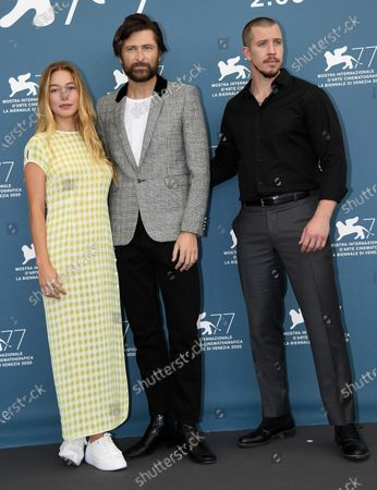 Stock Photo of Charlotte Vega, Polish-born filmmaker Filip Jan Rymsza and US actor Beau Knapp pose at a photocall for 'Mosquito State ' during the 77th annual Venice International Film Festival, in Venice, Italy, 05 September 2020.  The event is the first major in-person film fest to be held in the wake of the Covid-19 coronavirus pandemic. Attendees have to follow strict safety measures like mandatory face masks indoors, temperature scanners, and socially distanced screenings to reduce the risk of infection. The public is barred from the red carpet, and big stars are expected to be largely absent this year. The 77th edition of the festival runs from 02 to 12 September 2020.