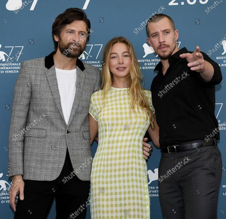Charlotte Vega (C) , Polish-born filmmaker Filip Jan Rymsza (L) and US actor Beau Knapp pose at a photocall for 'Mosquito State ' during the 77th annual Venice International Film Festival, in Venice, Italy, 05 September 2020. The event is the first major in-person film fest to be held in the wake of the Covid-19 coronavirus pandemic. Attendees have to follow strict safety measures like mandatory face masks indoors, temperature scanners, and socially distanced screenings to reduce the risk of infection. The public is barred from the red carpet, and big stars are expected to be largely absent this year. The 77th edition of the festival runs from 02 to 12 September 2020.