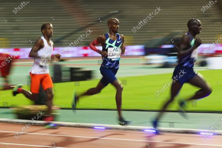 Britain's Mo Farah (C) runs during the One Hour Men at the Diamond League Memorial Van Damme athletics event at the King Baudouin stadium in Brussels, Belgium, Sept. 4, 2020. Farah set a new world record.