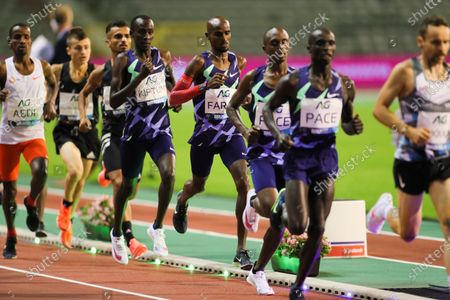 Britain's Mo Farah (4th R) runs during the One Hour Men at the Diamond League Memorial Van Damme athletics event at the King Baudouin stadium in Brussels, Belgium, Sept. 4, 2020. Farah set a new world record.