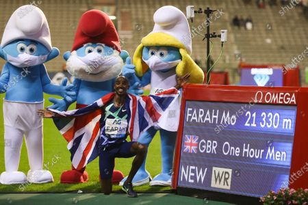 Britain's Mo Farah celebrates after the One Hour Men at the Diamond League Memorial Van Damme athletics event at the King Baudouin stadium in Brussels, Belgium, Sept. 4, 2020. Farah set a new world record.
