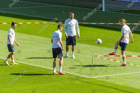 Switzerland's Renato Steffen, Granit Xhaka, Haris Seferovic and Michael Lang, from left, during a training session the day before the UEFA Nations League group 4 soccer match between Switzerland and Germany at the St. Jakob-Park stadium in Basel, Switzerland, on Saturday, September 5, 2020.