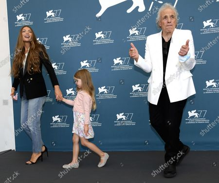 Abel Ferrara with his wife Moldovan actress Cristina Chiriac and his daughter Anna, pose at a photocall for 'Sportin' Life' and 'Premio Jaeger-LeCoultre Glory to The Filmmaker 2020', during the 77th annual Venice International Film Festival, in Venice, Italy, 05 September 2020.  The movie is presented Out of Competition at the festival running from 02 September to 12 September.