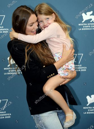 Cristina Chiriac and her daughter Anna Ferrara pose at a photocall for 'Sportin' Life' and 'Premio Jaeger-LeCoultre Glory to The Filmmaker 2020', during the 77th annual Venice International Film Festival, in Venice, Italy, 05 September 2020.  The movie is presented Out of Competition at the festival running from 02 September to 12 September.