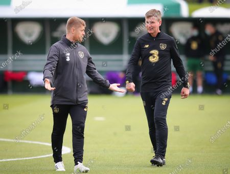Manager Stephen Kenny speak with Assistant Coach Damien Duff
