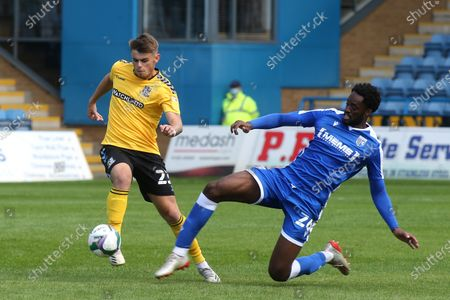 Charlie Kelman of Southend in possession as Gillingham's Christian Maghoma challenges for the ball during Gillingham vs Southend United, Caraboa Cup Football at the MEMS Priestfield Stadium on 5th September 2020
