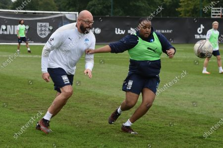 England's Tom Davis and Chunkz challenge for the ball during a training session in Manchester ahead of Soccer Aid for Unicef 2020. The match takes place on Sunday 6th September at Old Trafford, home of Manchester United. The match will be broadcast live and exclusive on ITV and STV at 6:30pm.