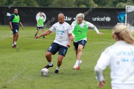 England's Marvin Humes is challenged by Olly Murs during a training session in Manchester ahead of Soccer Aid for Unicef 2020.The match takes place on Sunday 6th September at Old Trafford, home of Manchester United. The match will be broadcast live and exclusive on ITV and STV 6:30pm.