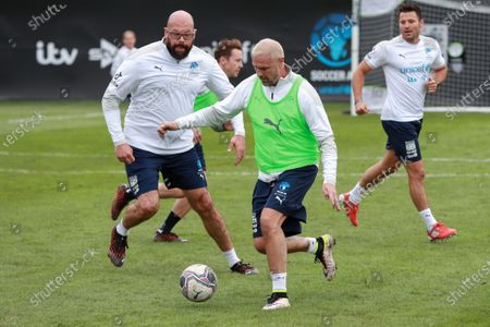 England's Paddy McGuinness being watched by Tom Davis during a training session in Manchester ahead of Soccer Aid for Unicef 2020.The match takes place on Sunday 6th September at Old Trafford, home of Manchester United. The match will be broadcast live and exclusive on ITV and STV 6:30pm.