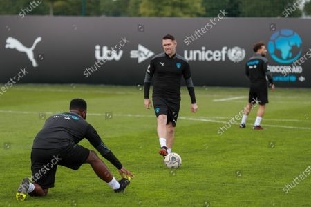 Mo Gilligan and Robbie Keane of the Soccer Aid World XI FC during a training session in Manchester ahead of Soccer Aid for Unicef 2020.The match takes place on Sunday 6th September at Old Trafford, home of Manchester United. The match will be broadcast live and exclusive on ITV and STV 6:30pm.