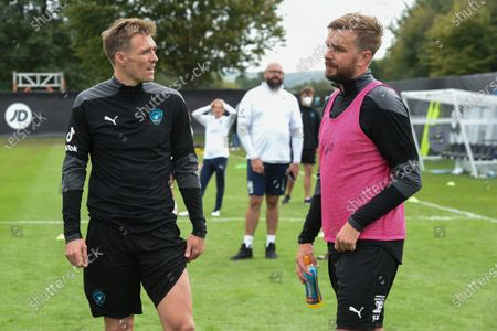 Soccer Aid World XI FC's Darren Fletcher chats to Iain Stirling during a training session in Manchester ahead of Soccer Aid for Unicef 2020. The match takes place on Sunday 6th September at Old Trafford, home of Manchester United. The match will be broadcast live and exclusive on ITV and STV 6:30pm.