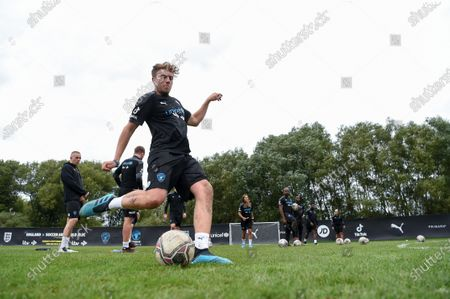 Soccer Aid World XI FC's Roman Kemp during a training session in Manchester ahead of Soccer Aid for Unicef 2020. The match takes place on Sunday 6th September at Old Trafford, home of Manchester United. The match will be broadcast live and exclusive on ITV and STV 6:30pm.