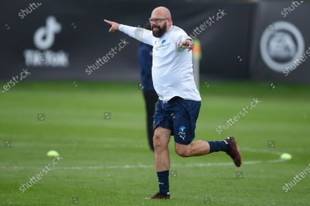 England's Tom Davis celebrates during a training session in Manchester ahead of Soccer Aid for Unicef 2020. The match takes place on Sunday 6th September at Old Trafford, home of Manchester United. The match will be broadcast live and exclusive on ITV and STV 6:30pm.