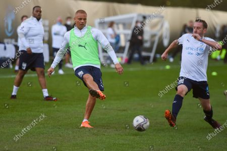 Wes Brown is challenged by Lee Mack of the England team during a training session in Manchester ahead of Soccer Aid for Unicef 2020. The match takes place on Sunday 6th September at Old Trafford, home of Manchester United. The match will be broadcast live and exclusive on ITV and STV at 6:30pm.