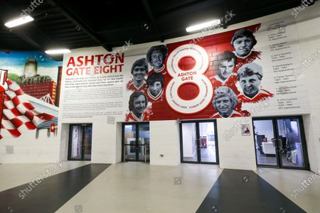 General View of new Ashton Gate 8 Artwork by newly announced club artist Jordan Hall in the Concourse at the stadium